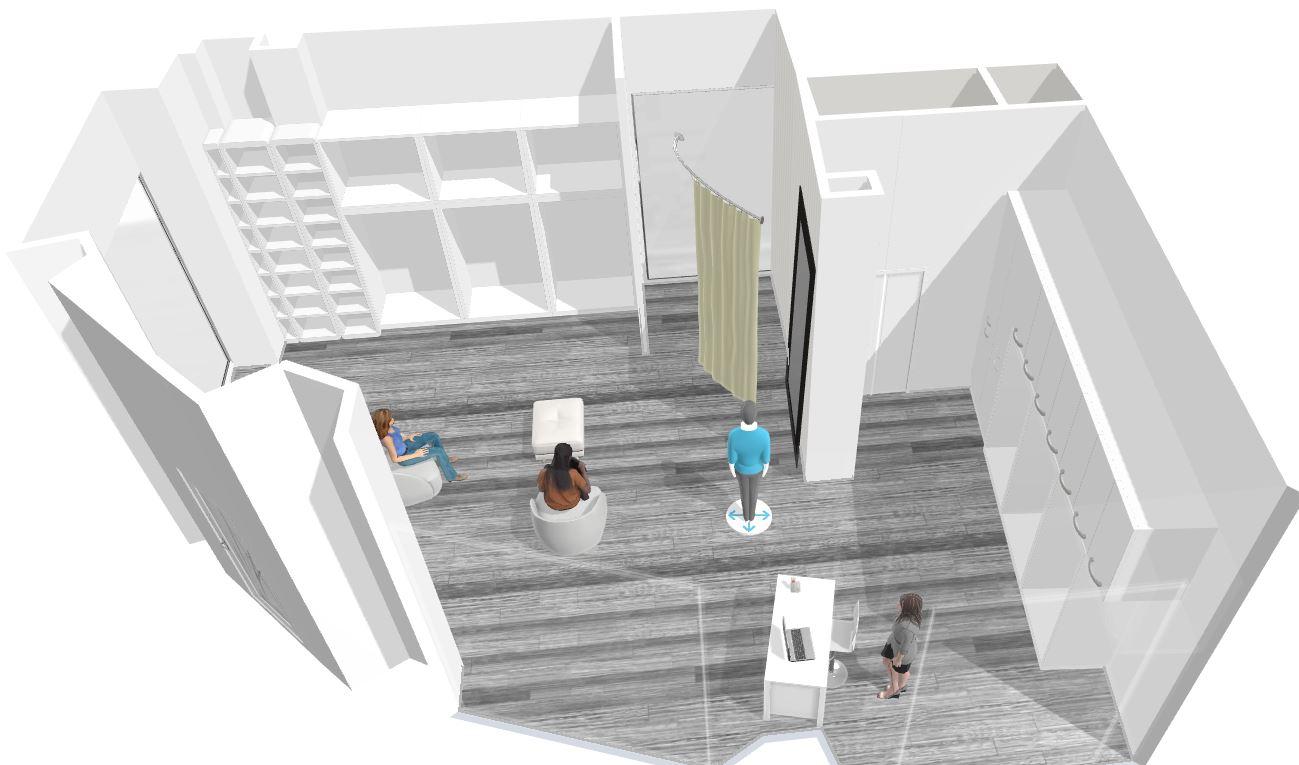 Diseño 3D y proyección local comercial en Eibar